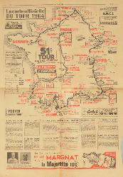 CARTE OFFICIELLE DU TOUR DE FRANCE 1964 SUPPLÉMENT D'UN JOURNAL