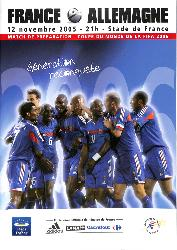 PROGRAMME OFFICIEL DU MATCH FRANCE VS ALLEMAGNE DU 12 NOVEMBRE 2005