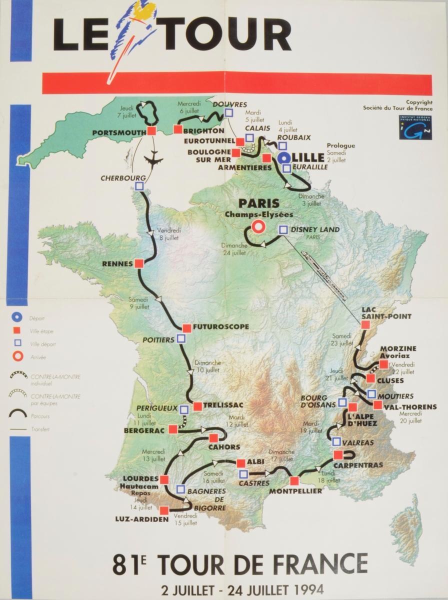 CARTE OFFICIELLE DU TOUR DE FRANCE 1994