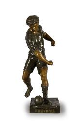 "SCULPTURE EN BRONZE ""FOOTBALL"" SIGNÉE E.PICAULT"