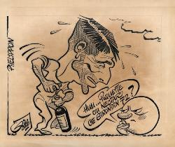 CARICATURE ORIGINALE DE PIERRE PHELIPON (GIRONDINS DE BORDEAUX)