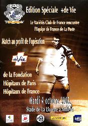 PROGRAMME OFFICIEL DU MATCH LE VARIÉTÉS CLUB VS FRANCE DU 4 OCTOBRE 2005
