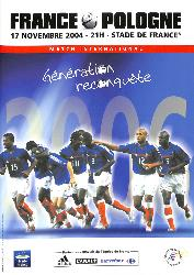 PROGRAMME OFFICIEL DU MATCH FRANCE VS POLOGNE DU 17 NOVEMBRE 2004